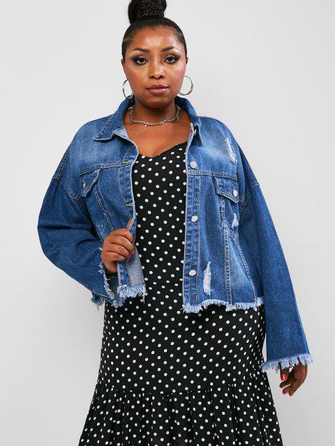 Veste Déchiré à Brodure Brut de Grande Taille en Denim - Bleu profond 2XL Mobile