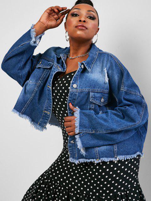 affordable Plus Size Distressed Raw Trim Denim Jacket - DEEP BLUE 4XL Mobile