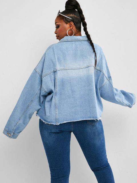 Veste Effrangée Goutte Epaule avec Poche en Denim de Grande Taille - Bleu clair 1XL Mobile