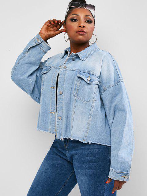 women's Plus Size Drop Shoulder Frayed Pocket Denim Jacket - LIGHT BLUE 2XL Mobile