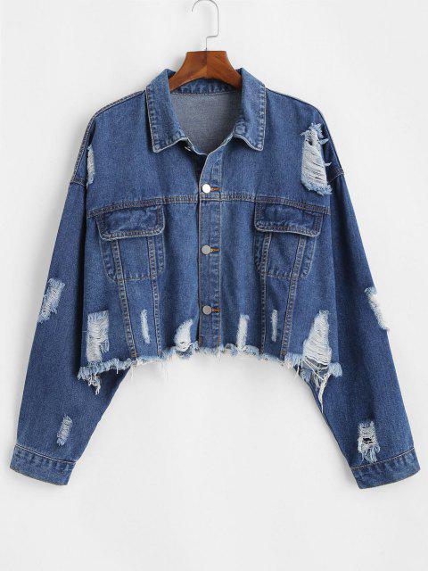 Frayed Distressed Cropped Plus Size Denim Jacket - ازرق غامق 3XL Mobile