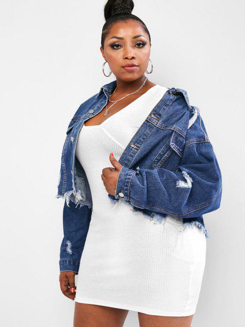 lady Frayed Distressed Cropped Plus Size Denim Jacket - DEEP BLUE 3XL Mobile