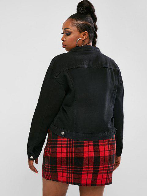 shops Plus Size Solid Denim Jacket - BLACK 3XL Mobile