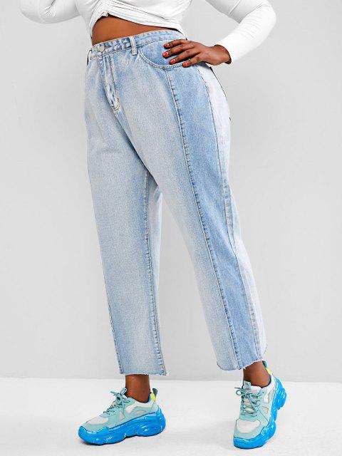 Plus Size Bicolor Frayed High Waisted Straight Jeans - أزرق فاتح L Mobile
