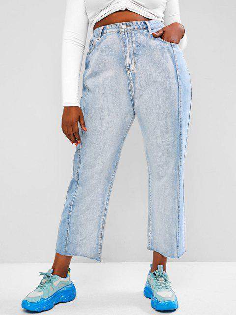 Plus Size Bicolor Frayed High Waisted Straight Jeans - أزرق فاتح 1XL Mobile