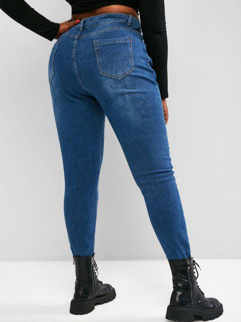 trendy Plus Size Raw Hem Tapered Jeans - BLUE 1XL Mobile