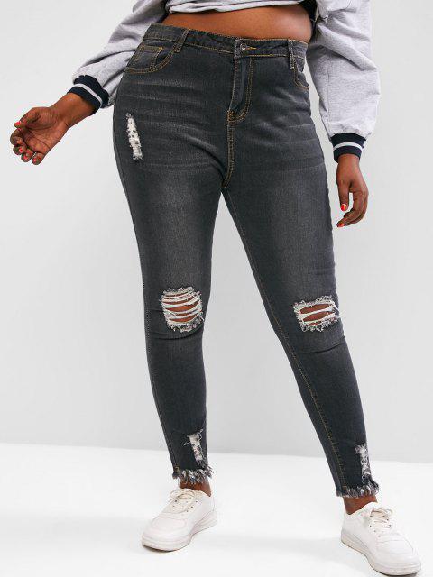 Plus Size Raw Hem Distressed Skinny Jeans - اللون الرمادي L Mobile