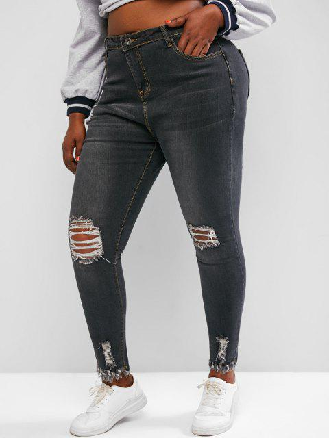 Plus Size Raw Hem Distressed Skinny Jeans - اللون الرمادي 1XL Mobile