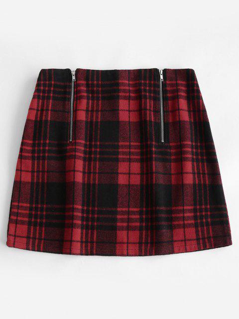 ZAFUL Plus Size Double Zip Tartan Plaid Wool Blend Skirt - أحمر L Mobile