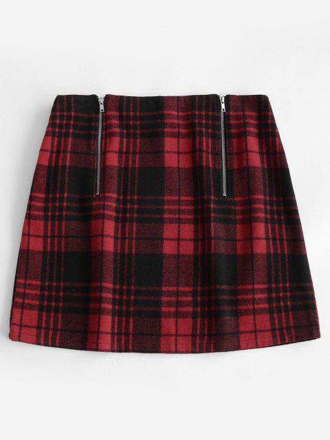 chic ZAFUL Plus Size Double Zip Tartan Plaid Wool Blend Skirt - RED 2XL Mobile