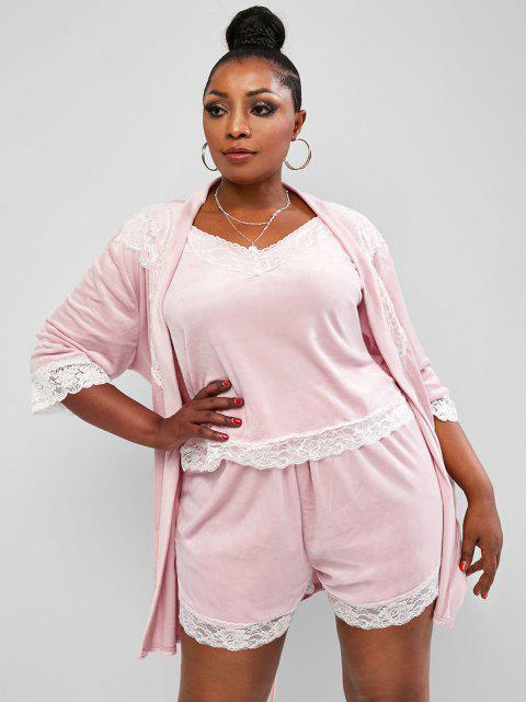 shops Plus Size Three-piece Velvet Lace Trim Robe Lounge Set - LIGHT PINK 5XL Mobile