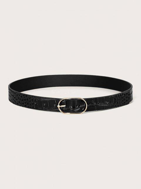 fancy Textured Oval Pin Buckle Belt - BLACK  Mobile