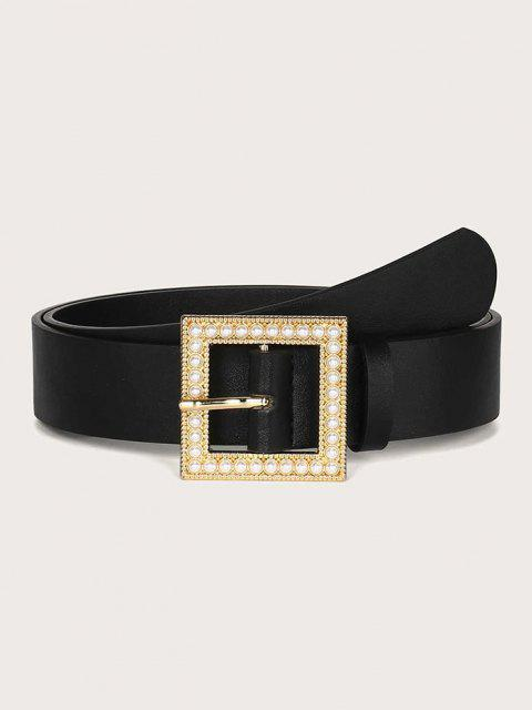 Faux Pearl Square Buckle Belt - أسود  Mobile