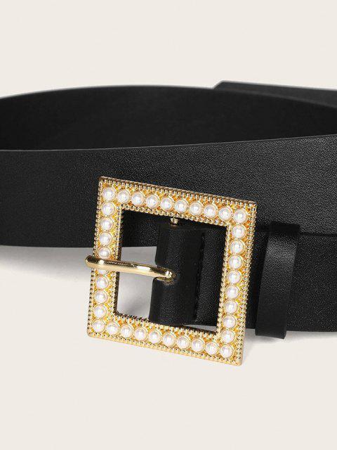 Cintura con Fibbia Quadrata e Perla Sintetica - Nero  Mobile