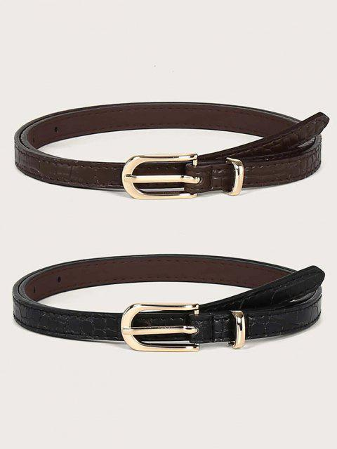 women 2Pcs Skinny Pin Buckle Belt Set - MULTI  Mobile