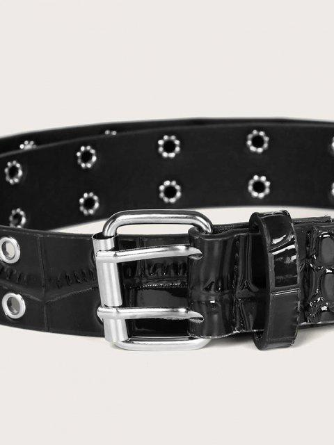fashion Textured Grommet Pin Buckle Belt - BLACK  Mobile