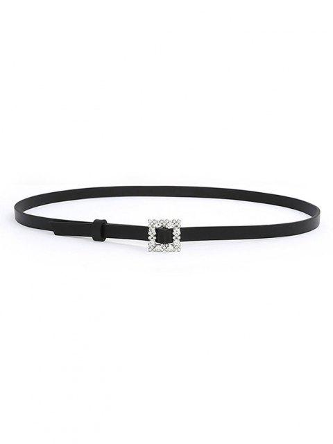new Rhinestone Square Buckle Belt - BLACK  Mobile