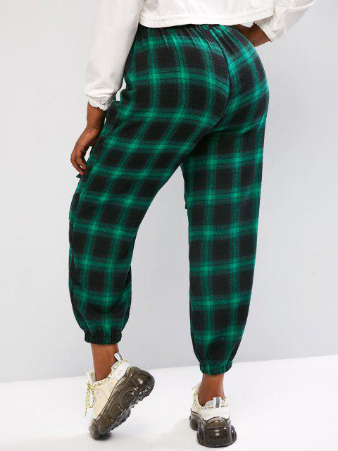 ladies Plus Size Plaid Cargo Pants with Buckled Pockets - GREEN L Mobile