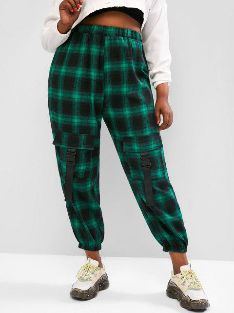 Plus Size Plaid Cargo Pants with Buckled Pockets - أخضر 1XL Mobile