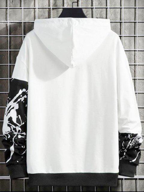 Sudadera con Capucha Estampado Salpicadura de Pintura y Cordones - Negro S Mobile