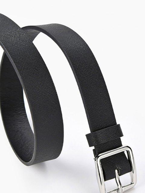 fancy Square Pin Buckle Textured Belt - BLACK  Mobile