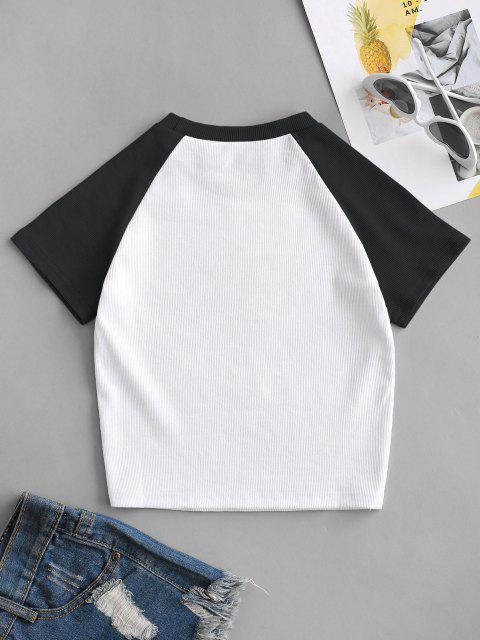 Geripptes Kontrastfarben Grafisches Baseball T-Shirt - Schwarz M Mobile