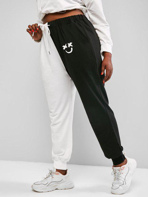 sale ZAFUL Plus Size Two Tone Face Print Drawstring Sweatpants - BLACK L Mobile