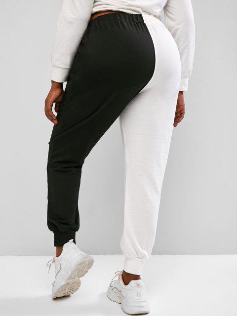 buy ZAFUL Plus Size Two Tone Face Print Drawstring Sweatpants - BLACK 2XL Mobile