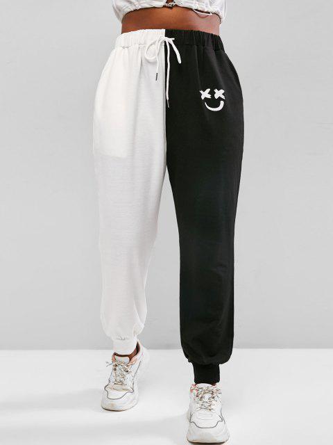 ZAFUL Plus Size Two Tone Face Print Drawstring Sweatpants - أسود 4XL Mobile