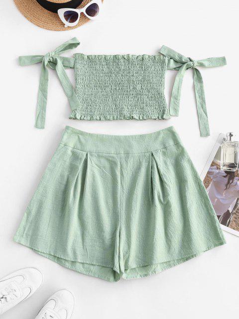 best Ruffle Smocked Off Shoulder Tie Sleeves Shorts Set - LIGHT GREEN L Mobile