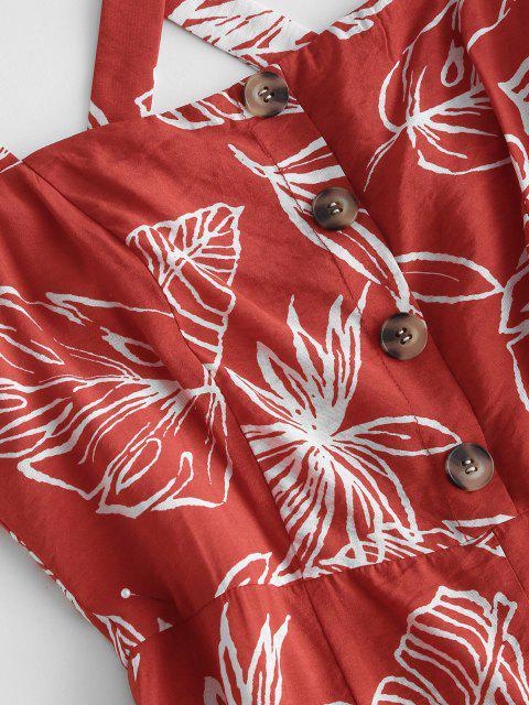 unique Palm Print Mock Button Criss Cross Wide Leg Jumpsuit - RED M Mobile