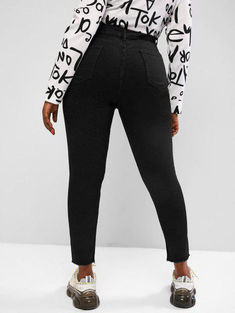best Plus Size Distressed Raw Hem Skinny Jeans - BLACK 2XL Mobile