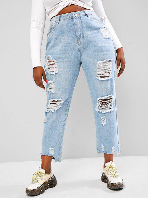 buy Plus Size Light Wash Ripped Boyfriend Jeans - LIGHT BLUE 3XL Mobile