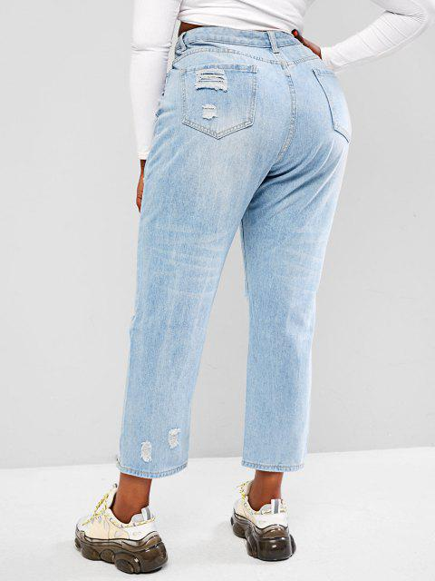buy Plus Size Light Wash Ripped Boyfriend Jeans - LIGHT BLUE 3XL Mobile