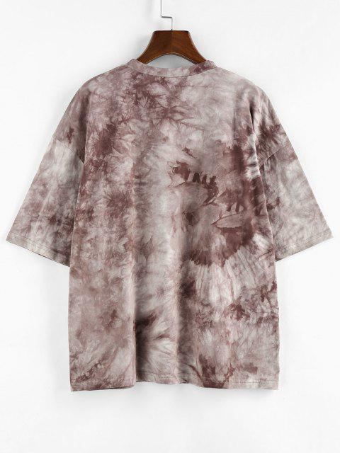 ZAFUL Sunflower Print Tie Dye Oversized Graphic T Shirt - قهوة M Mobile