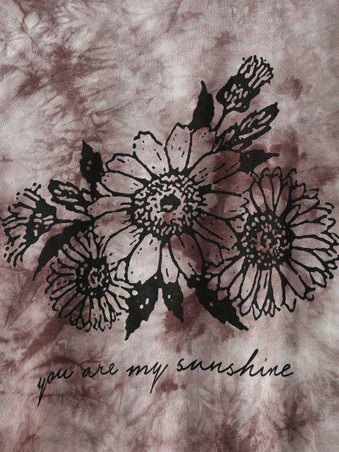hot ZAFUL Sunflower Print Tie Dye Oversized Graphic T Shirt - COFFEE M Mobile