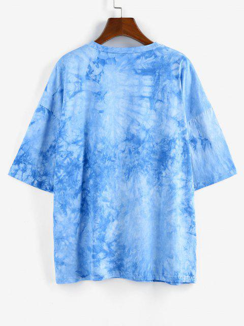 outfit ZAFUL Sunflower Print Tie Dye Oversized Graphic T Shirt - BLUE S Mobile