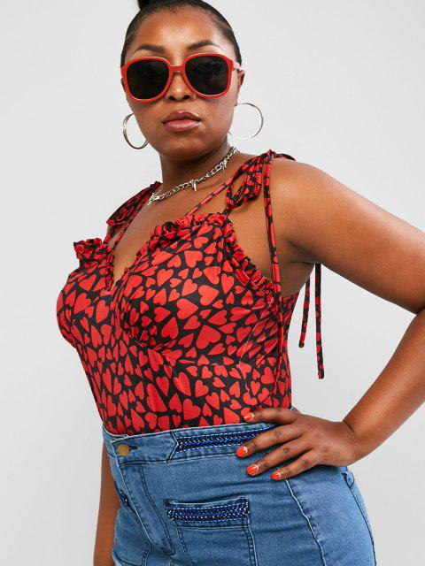 ZAFUL Plus Size Ruffle Tie Shoulder Heart Print Valentine Bodysuit - متعدد 5XL Mobile