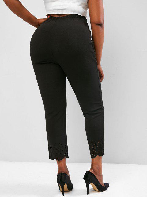 chic Plus Size Laser Cut Textured High Rise Pants - BLACK 2XL Mobile