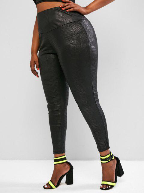 lady ZAFUL Plus Size Coated Snakeskin Leggings - BLACK XL Mobile