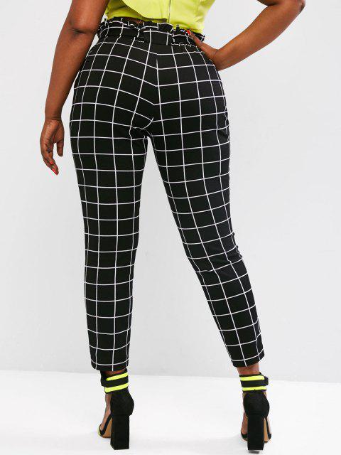 fashion Plus Size Paperbag Waist Check Pattern Belted Pants - BLACK 4XL Mobile