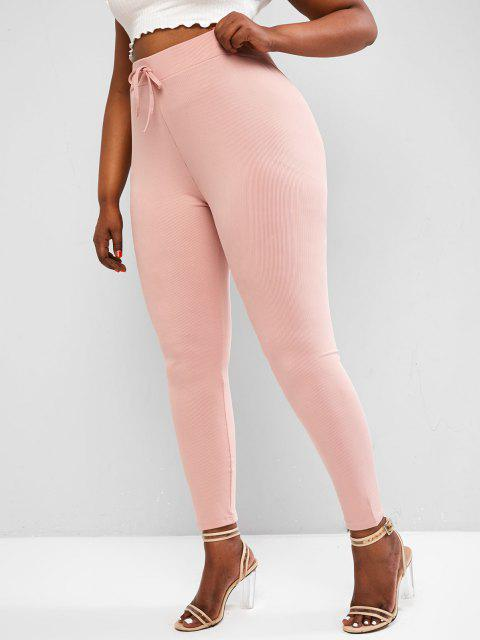 chic ZAFUL Plus Size Waist Tie Ribbed Leggings - LIGHT PINK 5XL Mobile