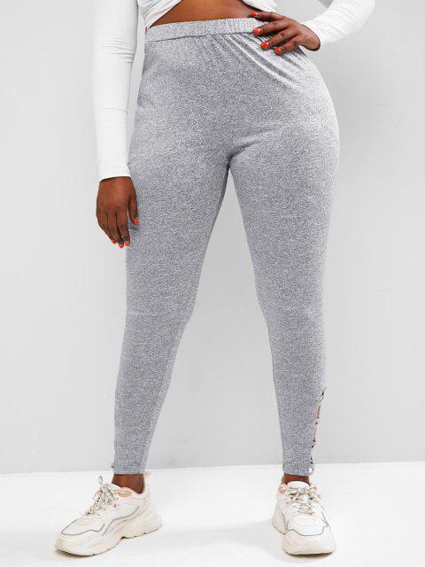 shop ZAFUL Plus Size Marled Crisscross Hem Jersey Leggings - DARK GRAY 5XL Mobile