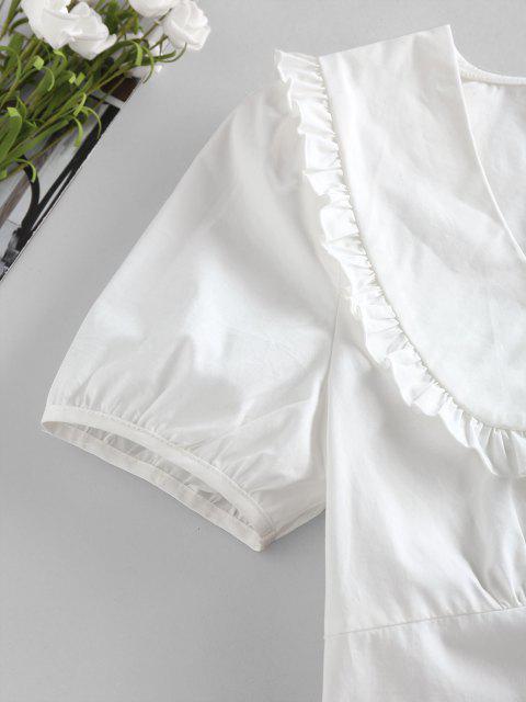ladies ZAFUL Frilled Smocked Back Crop Blouse - WHITE L Mobile
