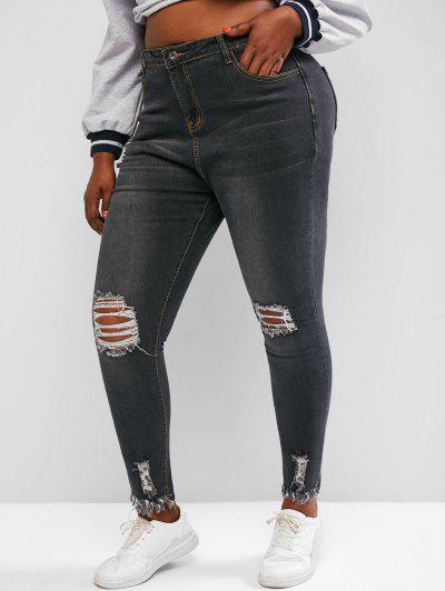Plus Size Raw Hem Distressed Skinny Jeans - Gray 1xl