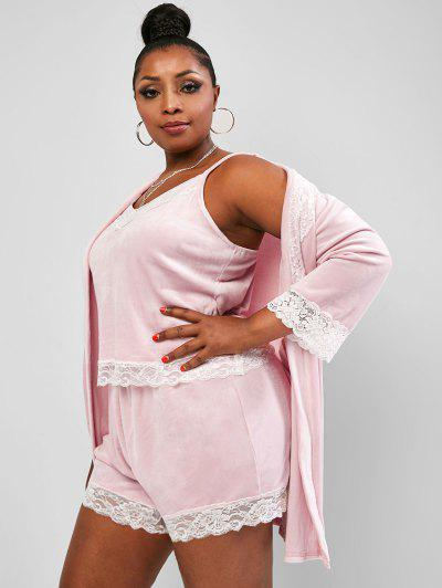 Plus Size Three-piece Velvet Lace Trim Robe Lounge Set - Light Pink 1xl