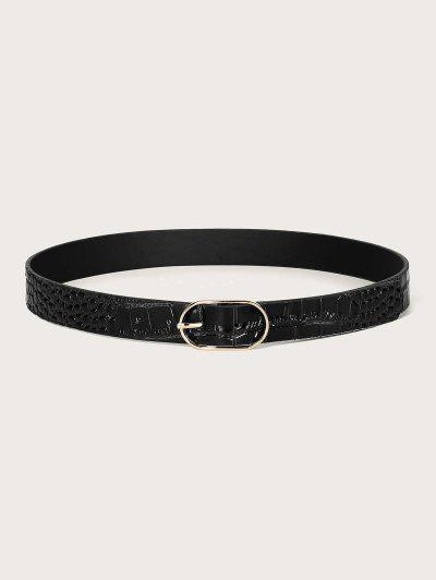 Textured Oval Pin Buckle Belt - Black