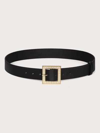 Faux Pearl Square Buckle Belt - Black