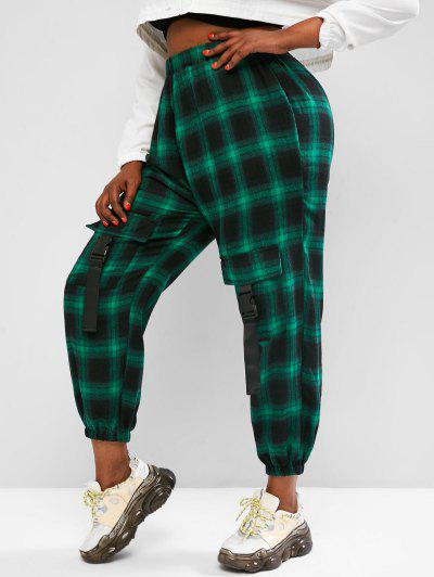 Plus Size Plaid Cargo Pants With Buckled Pockets - Green L
