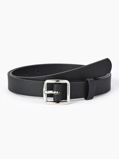 Square Pin Buckle Textured Belt - Black